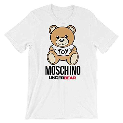 (Men Moschino Toy UnderBear Under Bear Short-Sleeve Shirt,White,Medium)