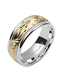 Alain Raphael 2 Tone Sterling Silver and 10k Yellow Gold 8 Millimeters Wide Wedding Band Ring