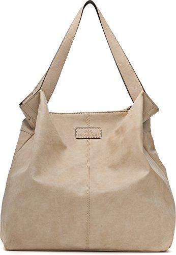 MIYA BLOOM, bolsos de señora, bandolera, bolsas de compras, XXL-Shopper, 47.5 x 41 x 15 cm (An x Al x pr), color: natural naturaleza
