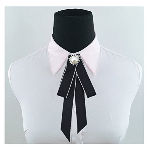 Bow Necktie - Satin Ribbon Bowknot Brooch Pin Necktie Ribbon Pre Tied Neck Tie Wedding Party Bow Tie (Black)