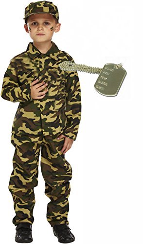 [Army Boy Soldier Action Man Kids Fancy Dress Costume Outfit With Dog Tag Age 7-9] (Army Dog Costumes)