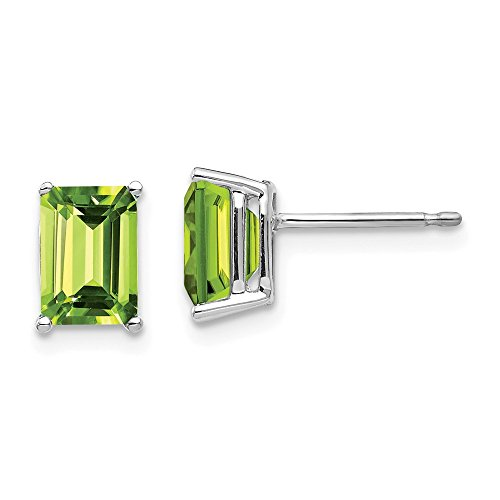 Emerald Peridot 7x5mm Earring Cut (Mia Diamonds 14k White Gold 7x5mm Emerald Cut Peridot Earrings)