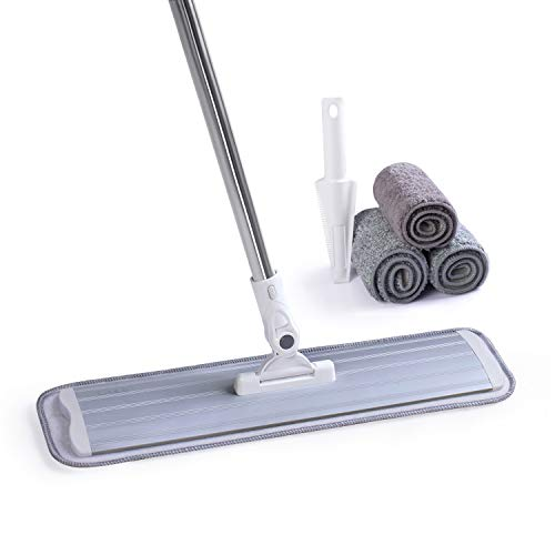 Microfiber Mop Floor Cleaning System, Hardwood Floor Mop with 4 Washable Pads Perfect Cleaner for Hardwood, Laminate & Tile,Stainless Steel Handle and Extension