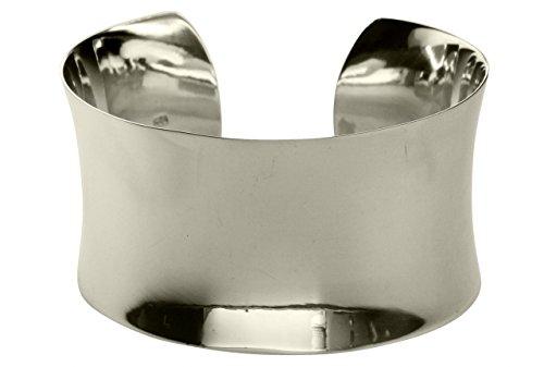 SILBERMOOS Bracelet Manchette exclusif Bracelet Jonc extra large XL concave brillant poli Argent Sterling 925