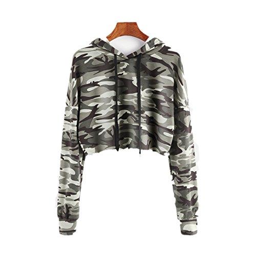 Women Tops,Woopower Casual Camouflage Long Sleeve Hooded Crop Sweatshirts (Casual Hooded Long Sleeve)