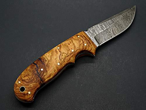 custom damascus knife olive burl handle, damascus steel hunter knife, damascus camp knife olive wood handle gold stone inlay, gift best man