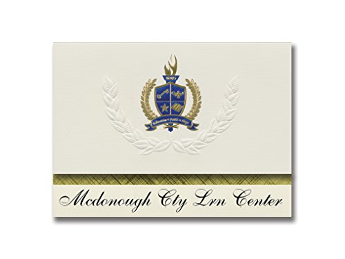 Macomb Center - Signature Announcements Mcdonough Cty Lrn Center (Macomb, IL) Graduation Announcements, Presidential style, Elite package of 25 with Gold & Blue Metallic Foil seal