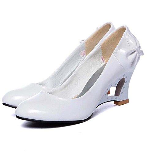Amarillo Tacón sintética Fiesta de para cuña mujer noche Primavera oficina Blanco y Rojo Negro piel de carrera boda Verano Vestido y Zapatos de de Rosa Blanco OqxB0TvI