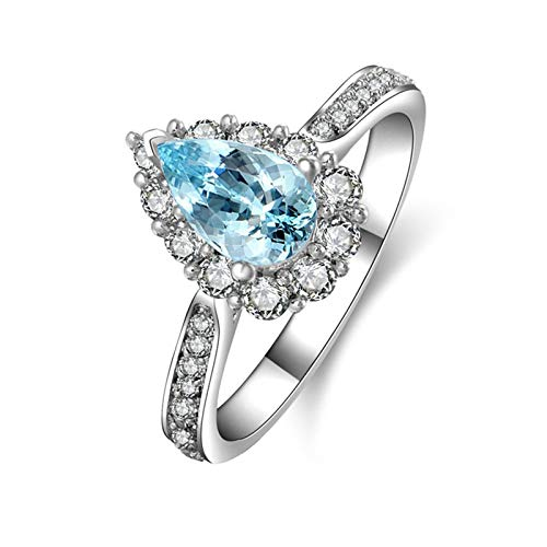 MoAndy Anniversary Ring Sterling Silver Rings Pear Cut Blue Topaz CZ Ring Eternity Size 5 -