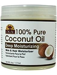 Okay Coconut Oil for Hair and Skin in Jar, 6 oz.