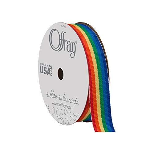 Offray Rainbow Craft Ribbon, 5/8-Inch x 9-Feet, Rainbow