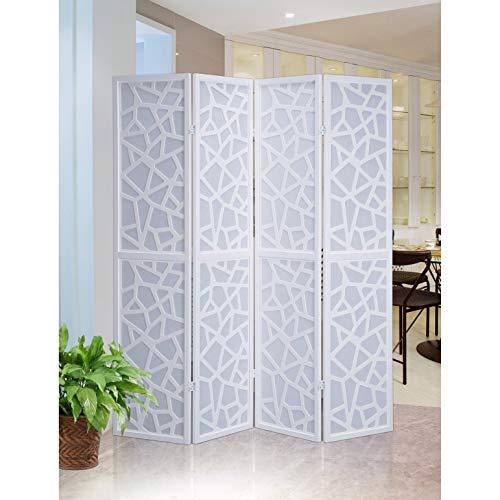 Privacy Fold Screen (Roundhill Furniture Giyano 4 Panel Screen Room Divider, White)