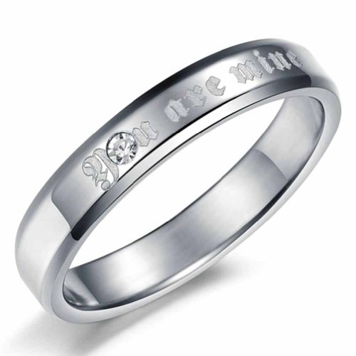 MoAndy Jewelry Stainless Steel Ring For Her Cubic Zirconia Bridal Rings For Her,Silver, Size 7