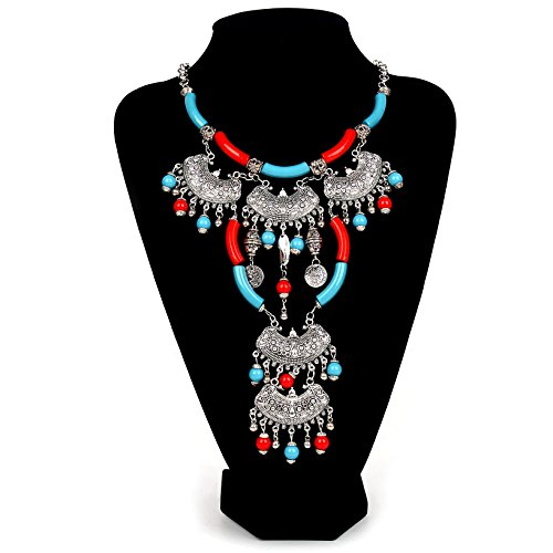 Paxuan Bohemian Turquoise Necklace Statement