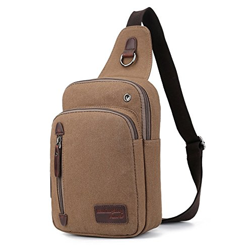 Coffee Men's Bag Canvas Coffee Chest Canvas Bag Men's Chest Men's wUPqBfw