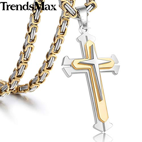 Metal Color: KP407 Black Silver, with Chain 36inch Mens Cross Necklace Gold Silver Black Cross Pendant Stainless Steel Byzantine Chain Necklace 2018 Hip Hop Male Jewelry KP180