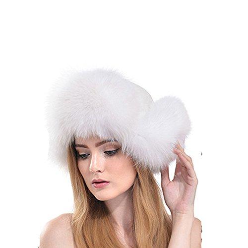 Fashfur Womens Russian Fur Winter Warm Trapper Hat (White)