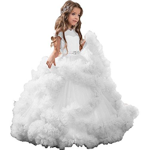 Weiß Hochzeitskleid Lange Mädchen Kleider Kinder Mingxuerong Blumenmädchen YfgZxgq