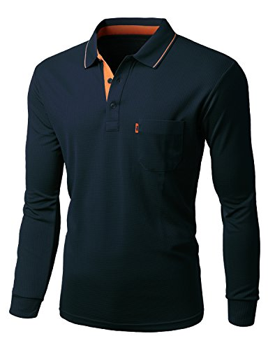 Xpril Mens Cool Max Fabric Sporty Design 2 Tone Collar Polo TShirt NAVY size S ()