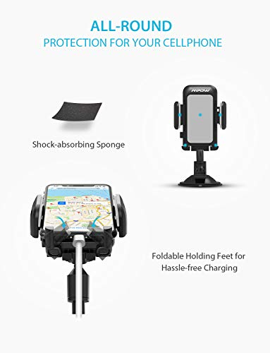 Mpow 033AH Cell Phone Holder for Car, Windshield Long Arm Car Phone Mount with One Button Design and Anti-Skid Base Car Holder Compatible iPhone XS MAX/XS/XR/X/8/7/7P/6s, Galaxy S6/S7/S8,Google,Huawei by Mpow (Image #4)