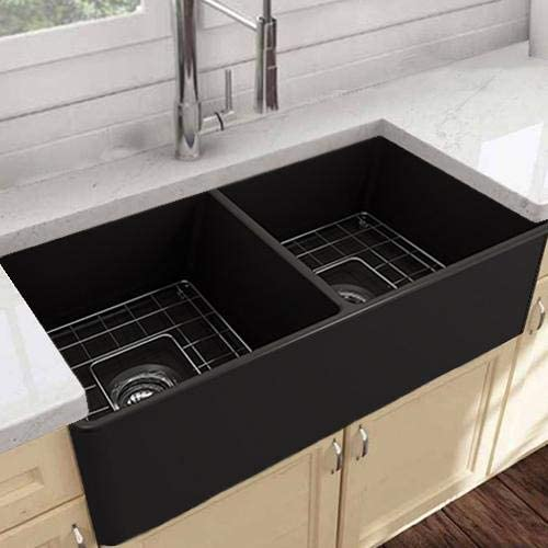Amazon Com Magnus Home Products 33 Kitchen Sink Huntington Fireclay Double Bowl Farmhouse Black Finish 1 Strainer Basket 1 Disposal Flange Polished Brass Wire Grid Not Included Sink Supports Included Home Kitchen