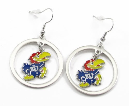 - NCAA Kansas Jayhawks Floating Logo Hoop Earrings