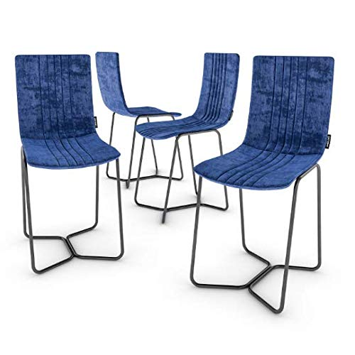 Cool Amazon Com Modern Royal Blue Leather Chairs Set Of 4 Pdpeps Interior Chair Design Pdpepsorg