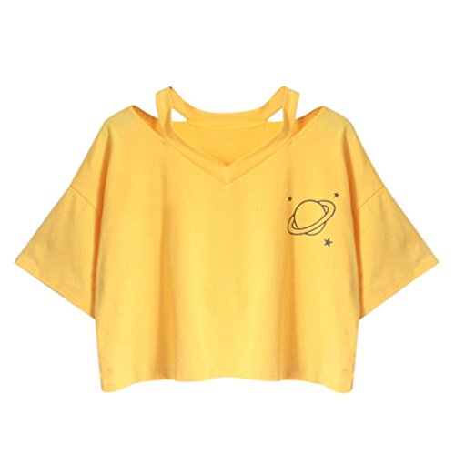 Price comparison product image Hot Sale! Women Teen Girls Cute Planet Print Summer Cut Out Shoulder Short Sleeve Crop Tops Tee Shirts (Yellow,  L)