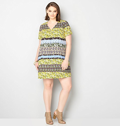 AVENUE-Womens-Floral-Stripe-A-Line-Dress