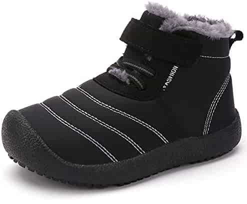 CIOR Boy's Girl's Snow Boots Fur Lined Winter Outdoor Slip On Shoes Boots
