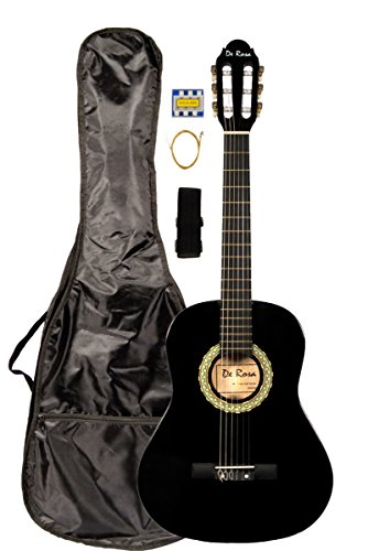 36 INCH DeRosa DKF36 Kid's BLACK 3/4 Classical Nylon String Guitar great for beginners by De Rosa