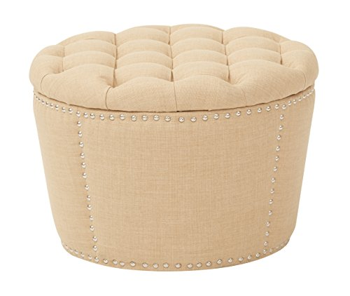 Cheap Office Star Lacey 2-Piece Nesting Storage Ottoman with Tufted Top and Nailhead Accents, Milford Maize