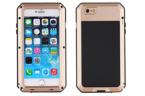 iPhone 6 Case,iPhone 6s Case Amever Aluminum Metal Case with Silicone - Water Resistant Shockproof Heavy Duty Tempered Glass Screen Protector - Dual Layer Protective Case for iPhone 6 4.7 Inch