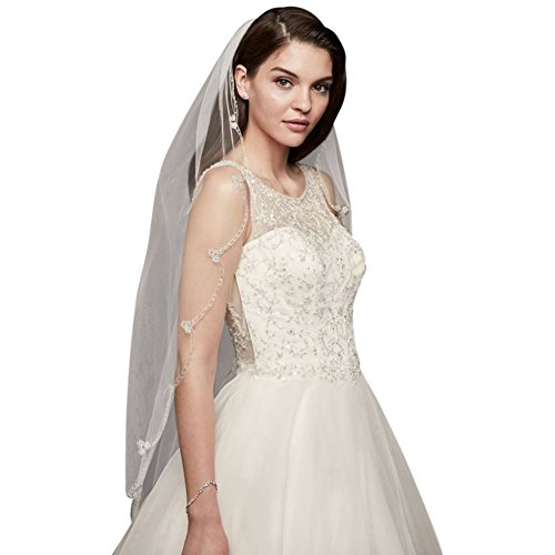 Embroidered Scallop-Edged Fingertip Veil Style V707, White by David's Bridal