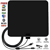 TV Antenna, Sobetter 50~80 Mile Long Range Reception,Detachable Singal Booster Digital TV Antenna 2018 Newest with USB Power Supply,13.5ft Coax Cable Support 4K 1080p & All Older TVs for Indoor