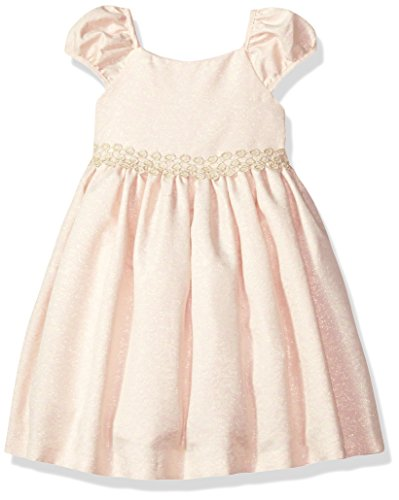 Laura Ashley London Girls' Little Puff Sleeve Party Dress, Pink/Gold Brocade, 5 - Pink Brocade Dress