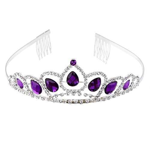 PIXNOR Wedding Tiara Bridal Crown Headband Prom Shining Rhinestone Princess Headpiece with Comb (Purple Rhinestone Crown)