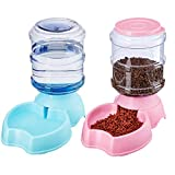 HouseLook Automatic Cat Feeder and Waterer Combo,Dog Water Dispenser,Cat Waterer Bowl,Replenish Pet Waterer,Automatic Pet Waterer 1Gallon (Waterer Blue+Feeder Pink) Review