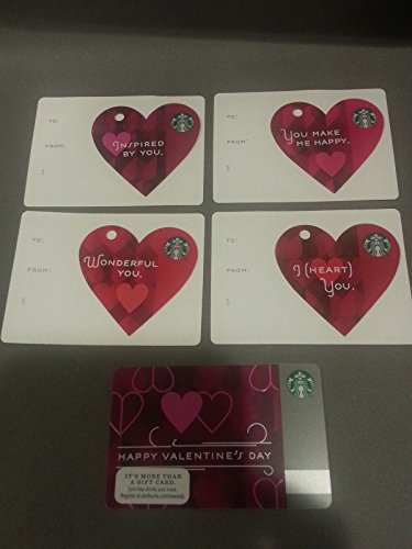 5 Starbucks 2013 Valentine's Day Gift Cards Limited Edition