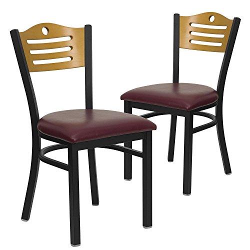(Flash Furniture 2 Pk. HERCULES Series Black Slat Back Metal Restaurant Chair - Natural Wood Back, Burgundy Vinyl)
