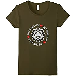 Womens Love Trumps Hate Heart Celtic Knot Anti-Trump T Shirt Small Olive