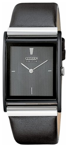 Citizen Men's Eco-Drive Stainless Steel Axiom Watch, (Black Square Metal Watch)