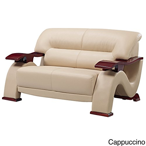 (Global Furniture Parker Collection Leather Matching Love Seat, Cappuccino)