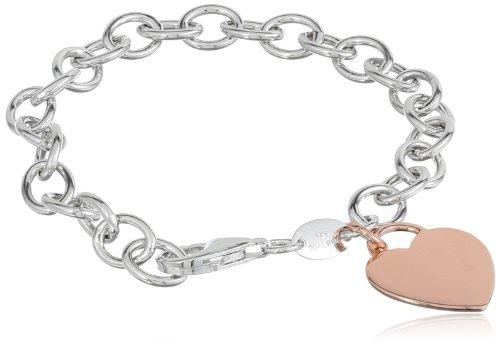 (Sterling Silver Rose Gold Heart Tag Bracelet, 7.5