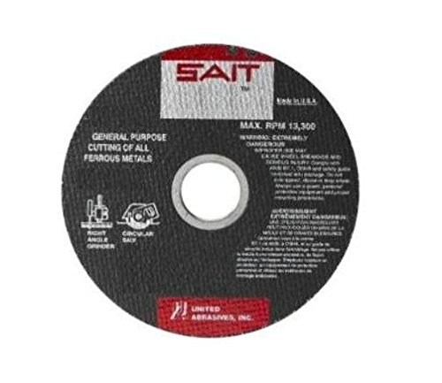 United Abrasives- SAIT 23458 Type 1 14-Inch x 1/8-Inch x 20mm 5460 Max RPM Ductile Portable Saw Cut-Off Wheel, 10-Pack (Renewed) ()
