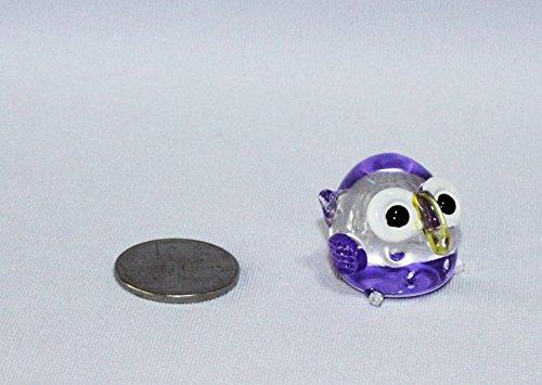Lampwork COLLECTIBLE MINIATURE HAND BLOWN Art GLASS Purple Mini Colorful Owl FIGURINE (Glass Owl Figurine)