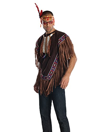 [Rubie's Costume Heroes And Hombres Men's Native American Costume Poncho, Brown, Standard] (Male Indian Costumes)