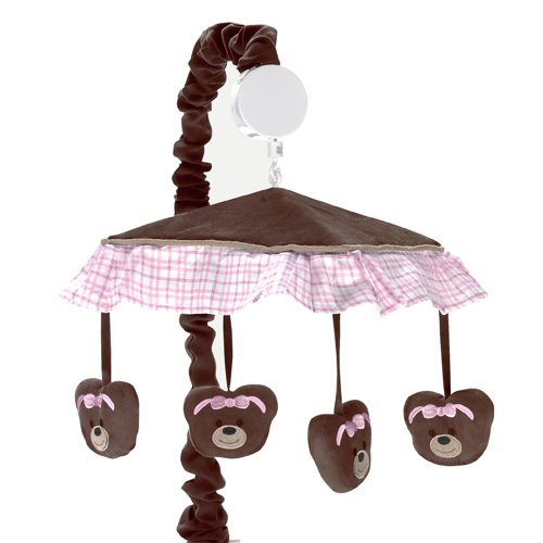 Pink Teddy Bear Design (Sweet Jojo Designs Pink and Chocolate Teddy Bear Musical Baby Crib Mobile)