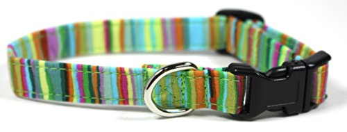 Happy Clover Green Stripes Dog Collar, Designer Cotton Dog Collar, Adjustable Handmade Fabric Collars (XS, Black) by Ruff Roxy
