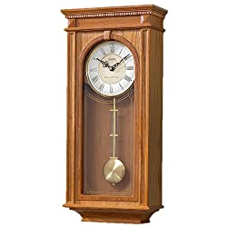 Bulova C4419 Manorcourt Clock, Golden Oak Finish